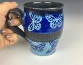 Blue ceramic coffee mug with butterflies, unique coffee mug, wheel thrown cup, colorful pottery cup, blue mug