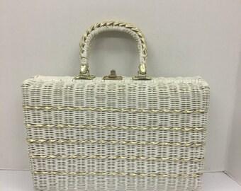 Vintage Mod White Wicker Handbag Gold Weave Tote Bag Day Purse