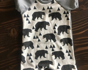 Bear Short Romper in Organic Cotton for Babies