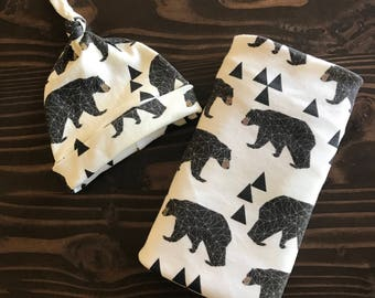 Swaddle and Hat in Organic Cotton for Babies and Kids - You Choose Print