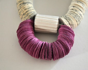 Paper Necklace, Statement necklace, Book paper, book jewelry, violet necklace, Recycled necklace, Paper neckpiece, Chrismas gift, Book lover
