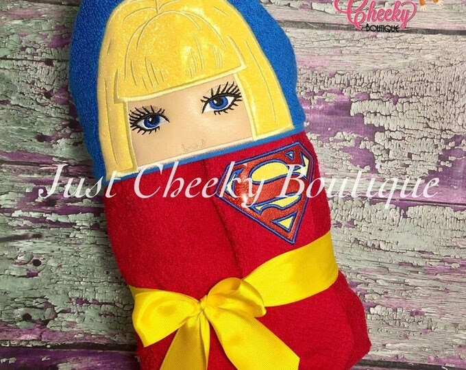 Super Girl Inspired Hooded Towel - Supergirl - Supergirl Birthday - Superhero Birthday - Supergirl Party -