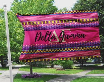 Delta Gamma flag, Hot pink Aztec print, 3 x 5 feet Polyester mesh, Customizable Sorority gift, DG letters dorm decor