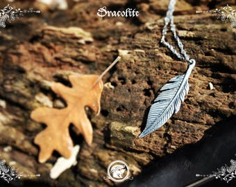 Sterling silver feather necklace  - Handmade medieval necklace in silver