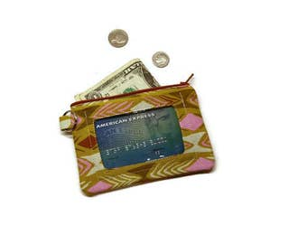 Olive green small zipper id wallet for women. Keychain wallet.