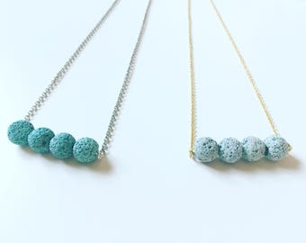 4 Teal Lava Necklace, Essential Oil Diffuser, Clay Lava Bead, Minimalist, Modern Aromatherapy Jewelry, Silver or Gold Necklace