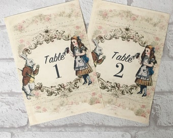 Alice In Wonderland Theme Wedding Table Cards Names or Numbers