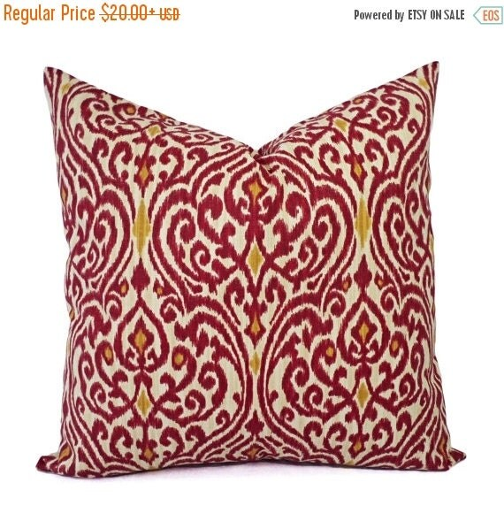 15 Inch Throw Pillow Covers : 15% OFF SALE Two Ikat Pillow Covers Red and by CastawayCoveDecor
