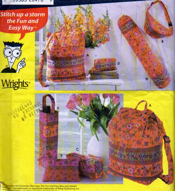 Simplicity 4936 Bags Pattern Backpack Fanny Pack Yoga Mat