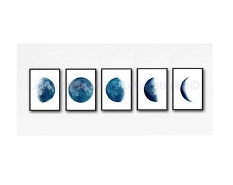 Moon Phase Print Set of 5 Watercolor Prints Luna Minimalist Blue Lunar Phases Moon Art Home Decor 5 Art Prints Wall Art