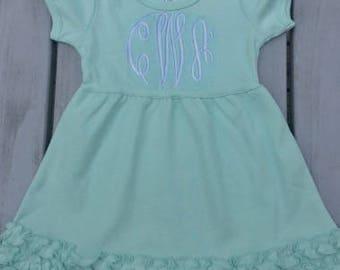 Monogrammed Mint Green Short Sleeve Ruffle Girl's Dress