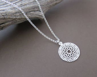 Sterling Silver Filigree Floral Necklace, Silver Filigree Necklace, dainty flower necklace, floral necklace, marciahdesigns, dainty jewelry