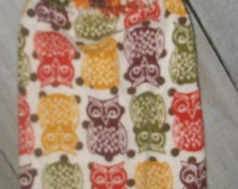 Crochet Top Hanging Kitchen Oven Printed Dishtowel Owls Butterscotch Orange Brown Olive Brown Polka Dots *No Button/Button Handmade by HCF&D