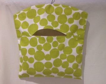 Funky Lime Green and White Spot Peg Bag, Clothespin Bag, Laundry Bag
