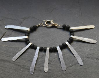 Bold Tribal bracelet, Hammered primitive bracelet, Lava bracelet, statement bracelet, Black and white jewelry, Fringe bracelet, 1118