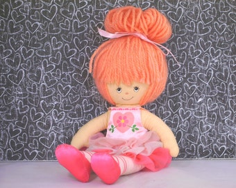 "Vintage Knickerbocker Toys 1982 Ballerina Ragdoll by J Morehead 9"" Soft Cloth Ballet Tutu Rag Doll Gifts for Children Girls"