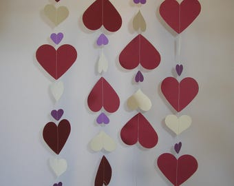 Hand made Thick Card Stock Paper Party Wedding Christmas Decoration Streamer Bordeaux, Ivory and Mauve Hearts