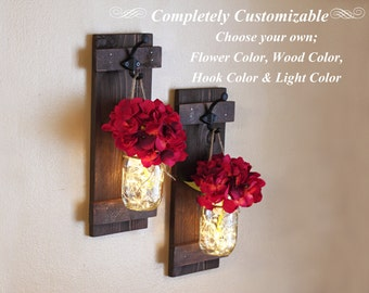 Wall Sconces, Mason Jar Wall Decor, Lighted Sconces, Mason Jar Decor, Rustic Wall Decor, Wall Sconce, 2 Wall Sconces, Rustic Home Decor
