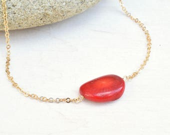 Coral necklace, Gold filled necklace, Coral jewelry, Minimalist necklace, Layering necklace, Red coral beads, Red necklace, Gift for her