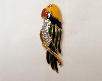 Signed Vintage Brooch, Parrot Brooch, Enamel with Pave' Rhinestones on the Breast, Crystal Eye,