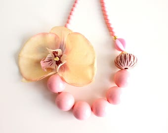 Tropical Orchid Necklace Bridal Necklace Pink Beaded Necklace Large Flower Jewelry Statement Wedding Necklace Resort Necklace FREE SHIPPING