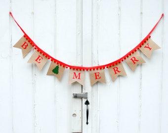 Be Merry Burlap Tree Pennant Banner