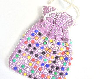 60s 70s Purse + Coin Purse Pouch Drawstring Bag REVERSABLE Beaded Bead Embellishments Handbag Multicolor Retro Emson Hobnail Plastic Rainbow