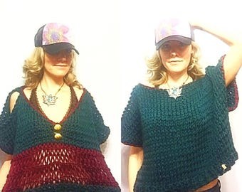 Reversible Open Shoulder, V-neck Open Back Chunky Short Sleeves Summer Sweater in Teal and Burgundy, Festival Top, Coachella Sweater, Boho