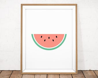 Summer Printable, Watermelon Poster, Watermelon Printable, Summer Fruit Poster, Watermelon Wall Art, Kitchen Poster, Tropical Summer Poster