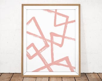 Brush Stroke Wall Art, Pink Abstract Wall art, Blush Pink Print, Pink Home Decor, Pink Paint Wall Print, Instant Download, Digital Print