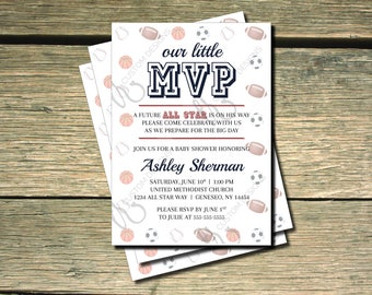 OUR LITTLE MVP Is On The Way - All Star Sports Baby Shower Invitation- 5x7