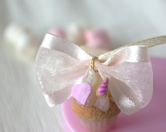 Unicorn pink cupcake necklace, miniature kawaii cupcake, food jewelry for her