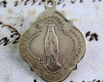 Antique Brass Medal Our Lady of Lourdes- Religious Medal -  France