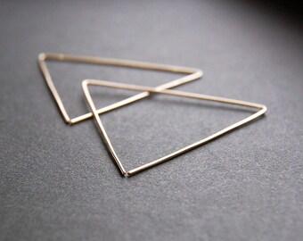 Large Triangle Earrings - triangle hoop earrings, gold hoop earrings, large hoop earrings, minimalist earrings, modern earrings, large hoops