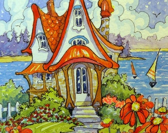 Happiness is a Red Roof Storybook Cottage mini series original Watercolor painting