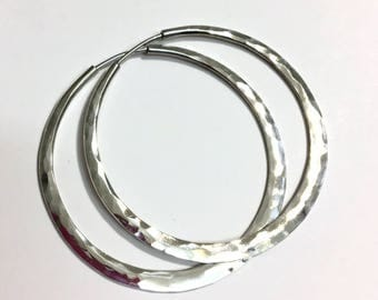 Sterling Silver Hoops - Hammer Textured - Self-locking Endless Hoop - Continuous Design