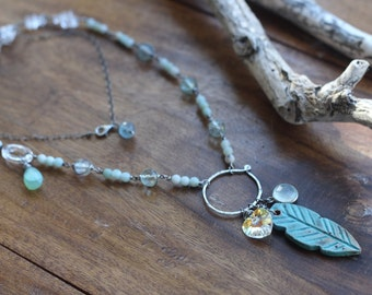 Sterling silver ceramic feather, aqua blue gemstone, amazonite, Swarovski Crystal, long lightweight wire wrapped beaded silver necklace