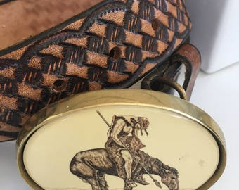End of the Trail Belt Buckle and Belt