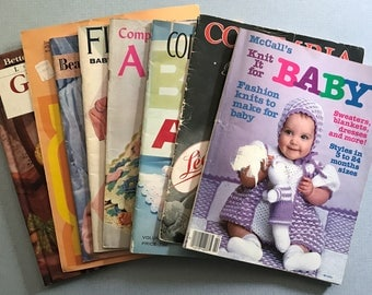 Lot of 8 Vintage Knit, Crochet & Craft Pattern Books For Babies 1944-1985