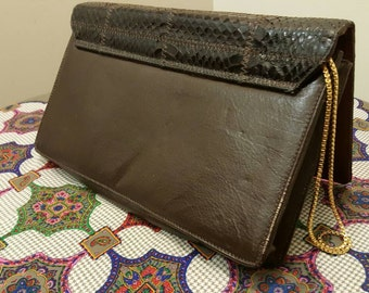 Dark Brown Snakeskin Leather Clutch, Patchwork, Brass Box-Chain Strap, Armstrong & Richardson, made in Canada
