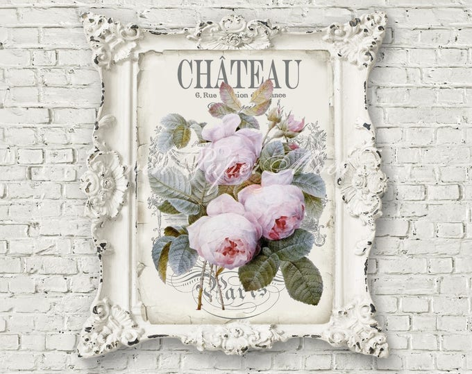 Shabby French Chateau Digital Image, Antique Roses, Neutral Colors, French Rose Pillow Image Graphic, Large Download
