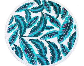 "Round Beach Towel - Roundie - Beach Blanket ""Malibu"""