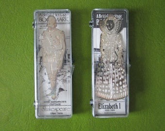 British Heritage Bookmark Vintage Silverplated in Original Box Made in England. Your Choice of Elizabeth I or William Shakespeare