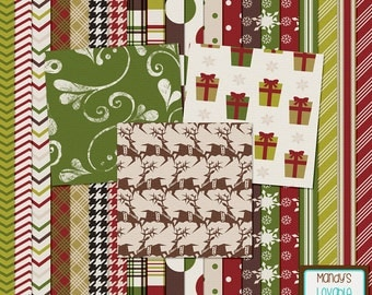 Classic Christmas Digital Papers Backgrounds - Cardmaking, Invitations, Holiday Crafts, DIY - Web and Blog Design - High Quality