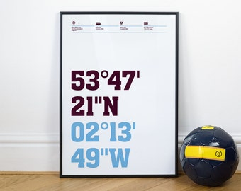 Burnley Football Stadium Coordinates Posters