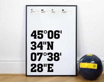 Juventus Football Stadium Coordinates Posters