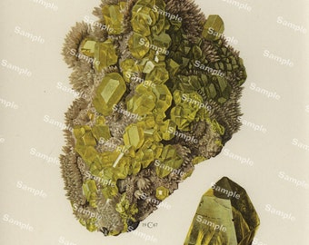 Soufre Vintage mineralogy Print of crystal and rocks