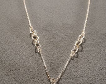 Vintage Sterling Silver Pendant Charm Necklace Chain Prong Set Rectangle London Blue Topaz Classic Design     #1395