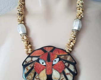 Lee Sands lion Pendant Necklace MOP Shell - Tropical Jewelry - Lee Sands Jewelry