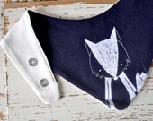 Baby Bib - Organic Cotton Jersey - Dark Blue with White Fox Print - Shower Gift Theeting Bandana - Drool Scarf - for Toddlers and Babies